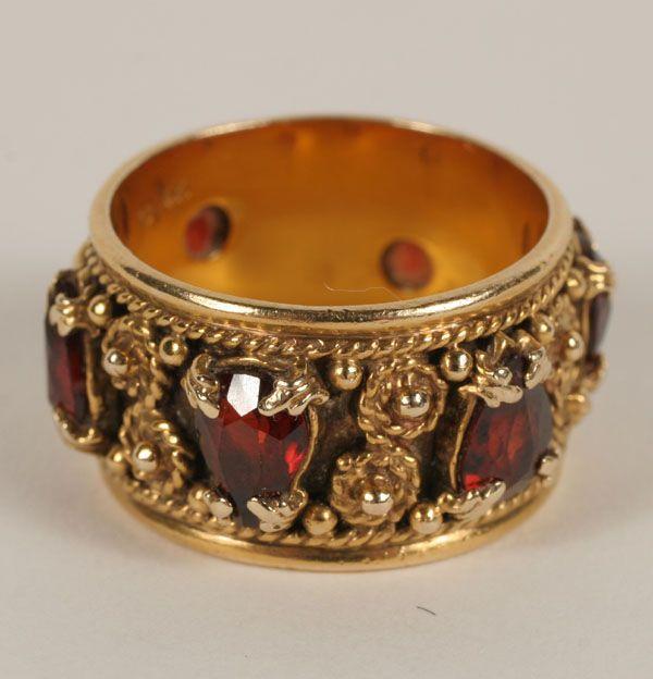 Edwardian Garnet Filigree Ring 14k Ooh Shiny Jewelry