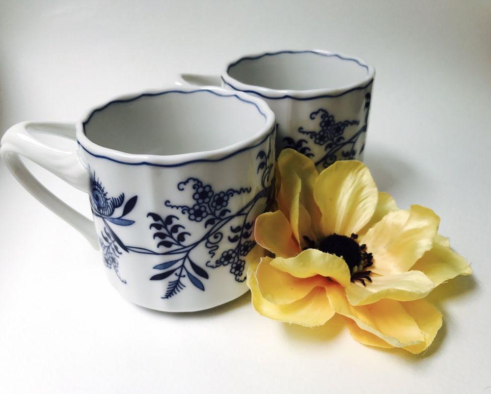 2 Blue Danube Japan Coffee Mugs Blue White Vintage Excellent  # Muebles Ulla Vedra