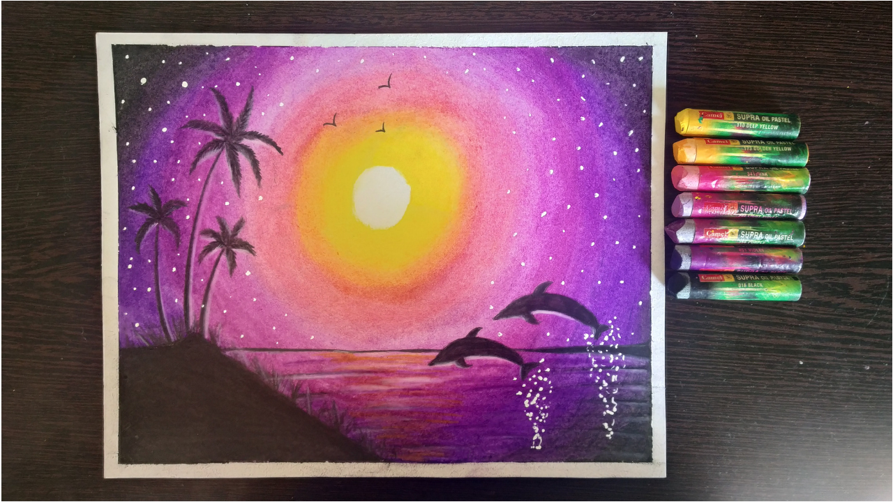 Dolphin Scenery Drawing With Oil Pastels For Beginners Step By
