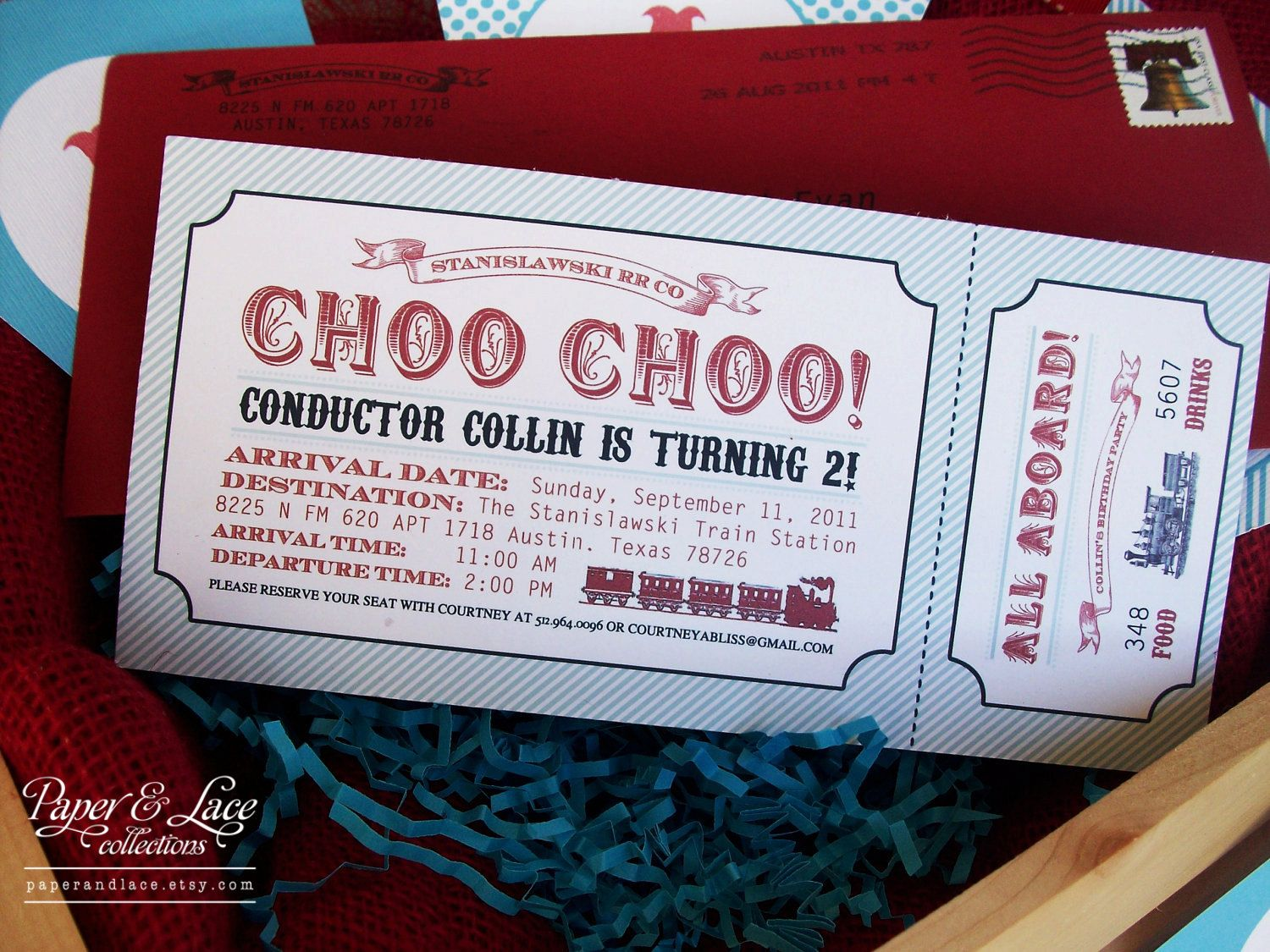 PRINTABLE Choo Choo Train Birthday Party Boarding Pass Invitation