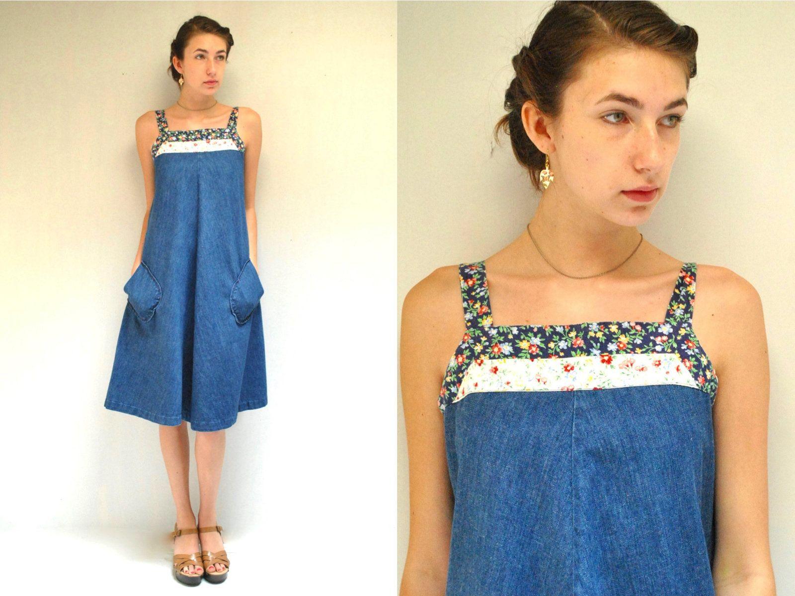 Denim Dress 70s Vintage Maternity Dress A Line Dress Trapeze Etsy Denim Sundress Boho Sundress Denim Dress [ 1200 x 1600 Pixel ]