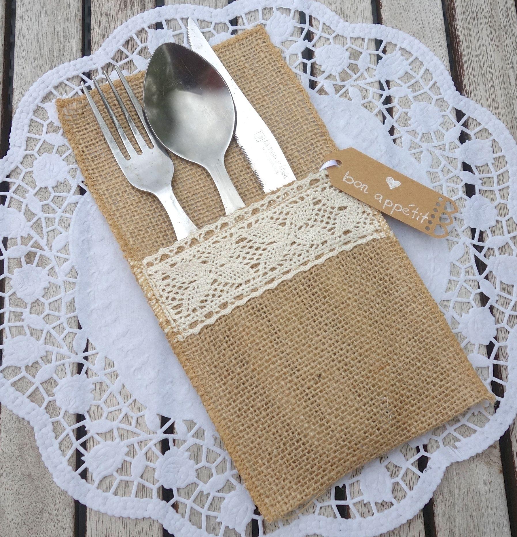 bestecktaschen jute spitze f r die vintage hochzeit lovely wedding pinterest. Black Bedroom Furniture Sets. Home Design Ideas