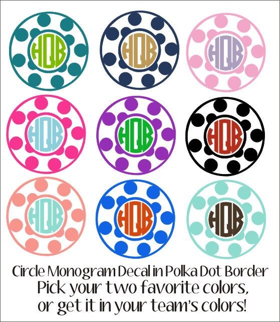 Monogram Car Decal Vinyl Decal Polka Dot Border Circle Monogram - Monogrammed custom vinyl decals for car