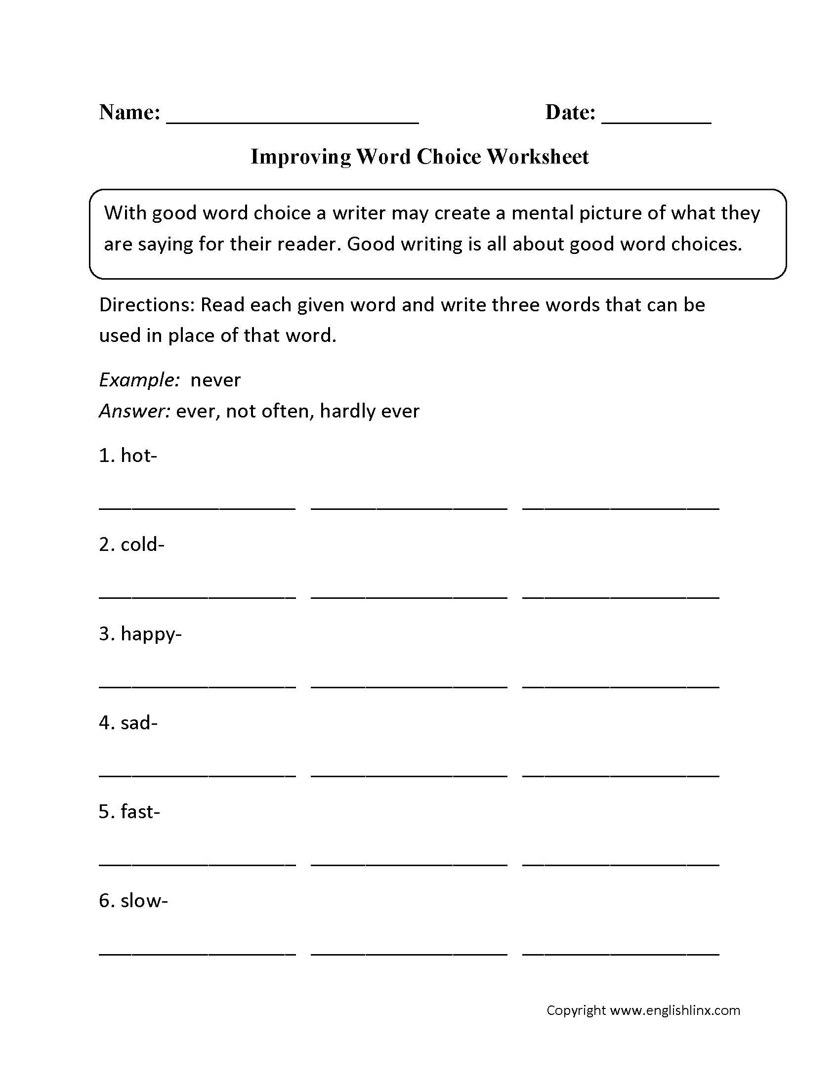 Improving Word Choice Worksheet