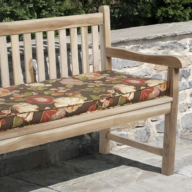 Kate Brown Floral Outdoor Bench Cushion Made with Sunbrella