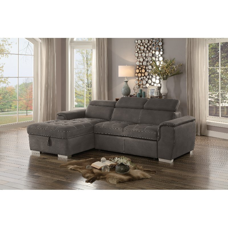 Taupe Sectional Sofa With Pullout Sofa Bed And Left Side Storage