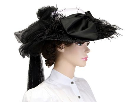 Victorian Touring Hat, Black and White - $52.00