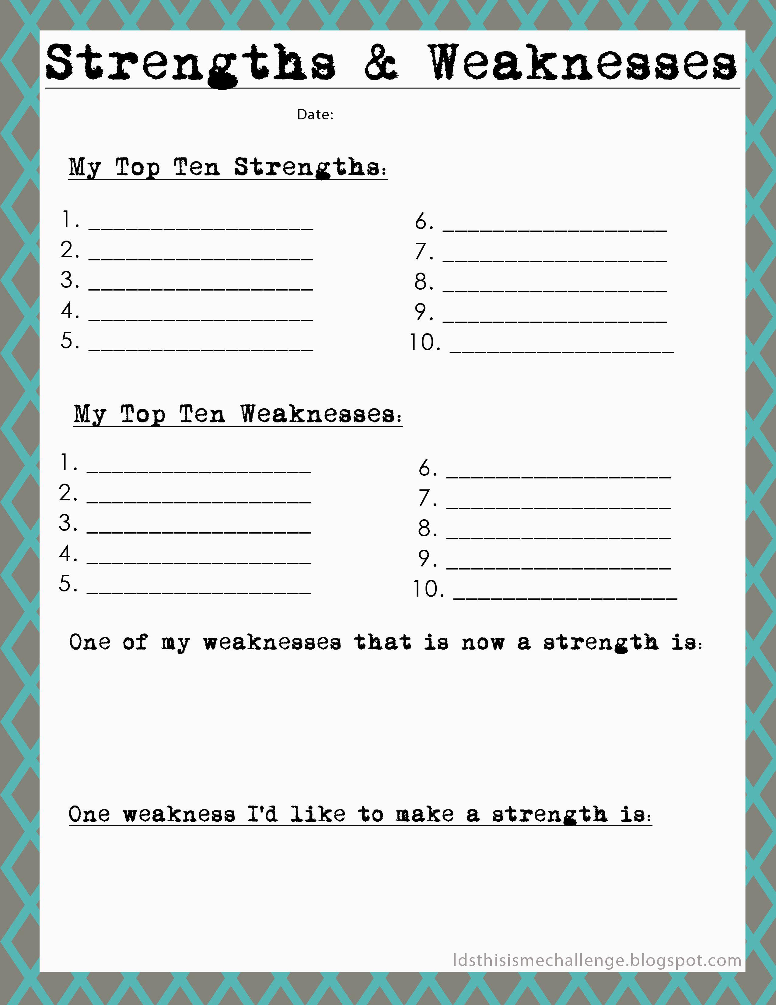 Strengths And Weaknesses Self Esteem Activities Therapy Activities Counseling Activities [ 3300 x 2550 Pixel ]