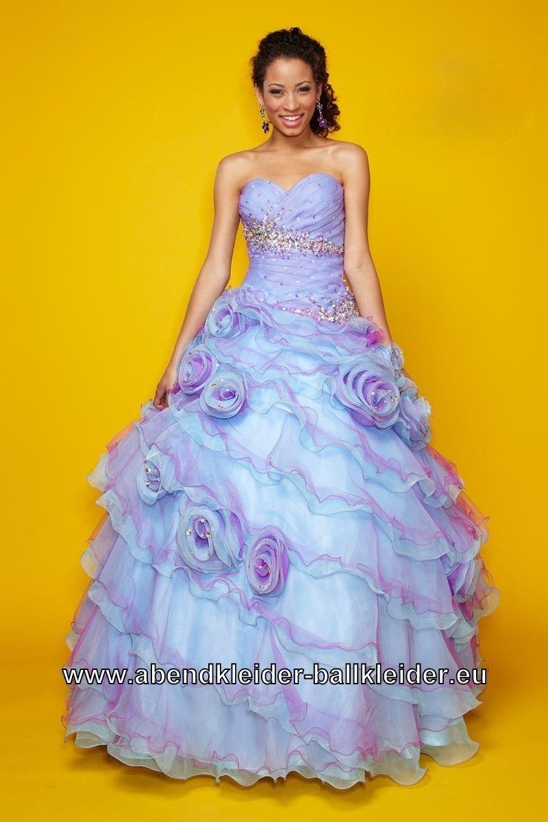 Flieder Abendkleid Ballkleid mit 3D Blumen | Ballkleid ...
