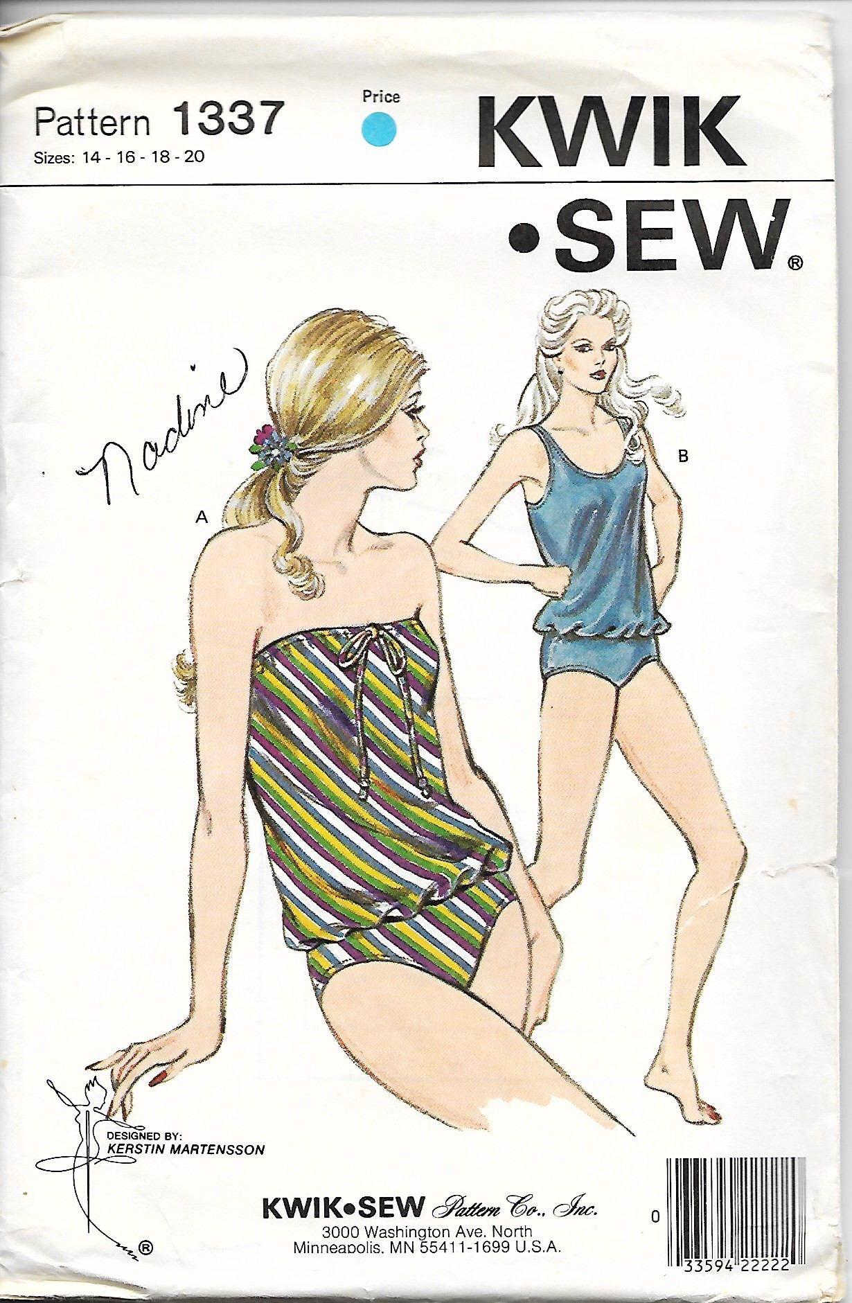 Kwik Sew 1337 MissesTankini, Two Piece Swimsuit Sewing Pattern, Size ...