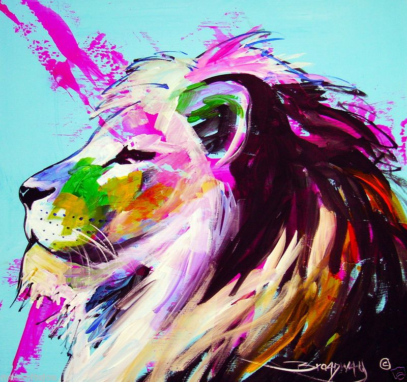 Lion original colorful abstract art painting 15x16 lions for Abstract animal paintings