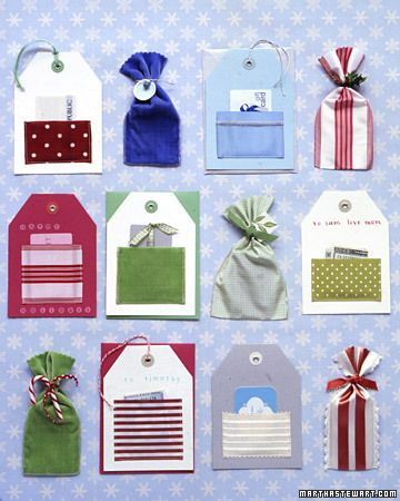 How-To Gift-Card Holders Martha Stewart Living: Get presents all tied up -- with ribbon. Our two ideas work for gift cards, tickets, cash, and more. Grace oversize gift tags with ribbon pockets or turn wide ribbons into pouches. Either can be attached to a package or presented on its own. For Pockets:   Purchase precut tags with grommets from a stationery store. Cut a 3 1/2-inch length of wide fabric ribbon. Fold each cut end under by 1/4 inch; glue. Sew bottom and side edges to tag to form…