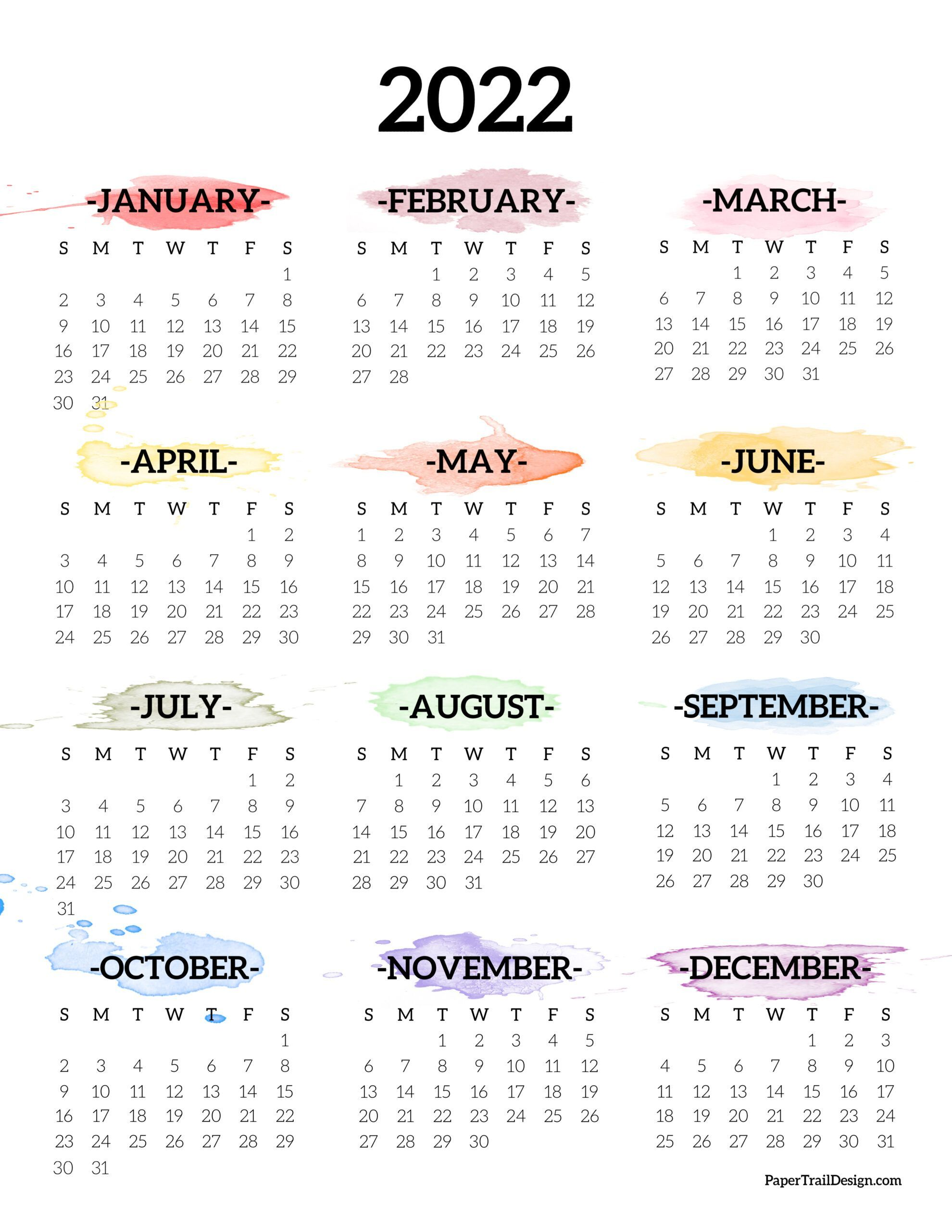 Calendrier Trails 2022 2022 One Page Calendar Printable   Watercolor | Paper Trail Design