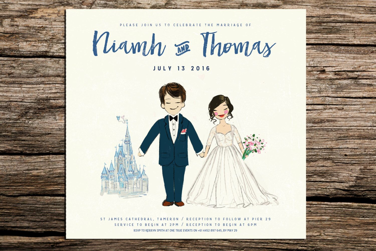Custom Disney Painted Couple portrait, Wedding Invitation or ...