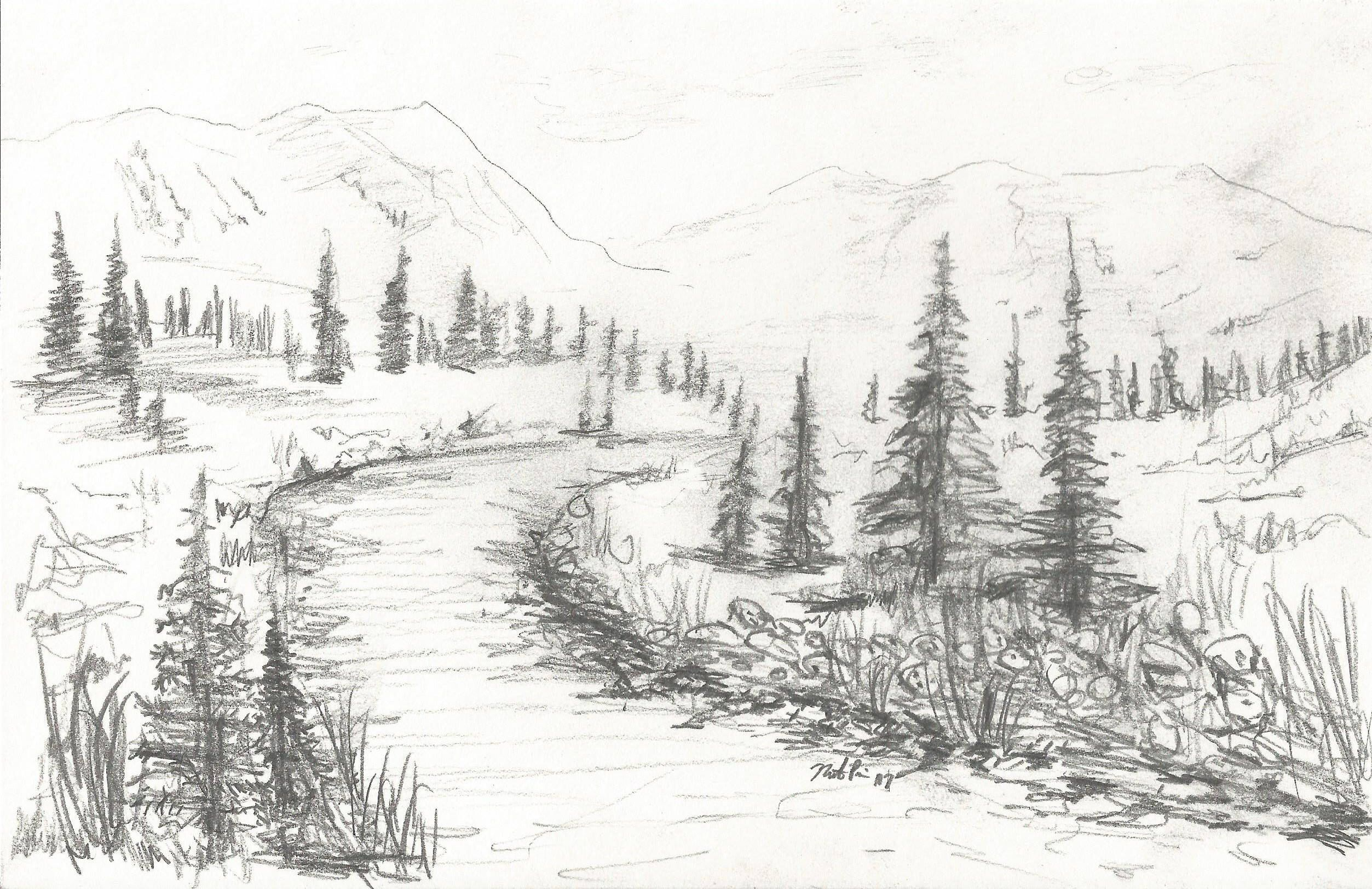 Landscape pencil drawing instant download artwork mountain scene by natepricecreations on etsy https