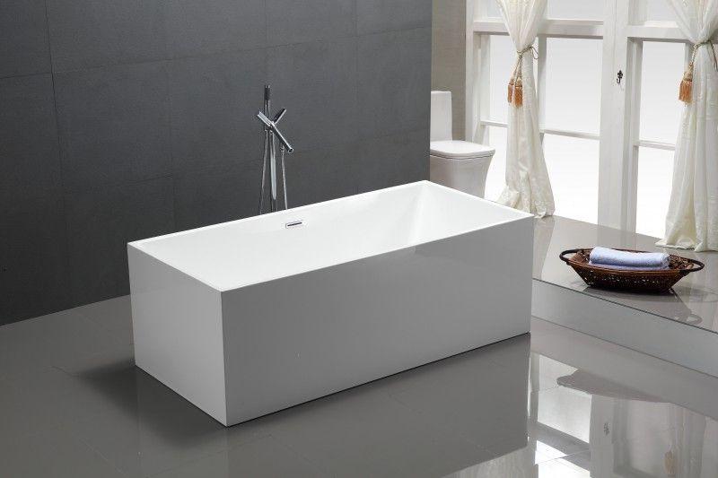Freistehende Badewanne Eckig baignoire îlot comfort en acrylique sanitaire 170x80x60cm avec