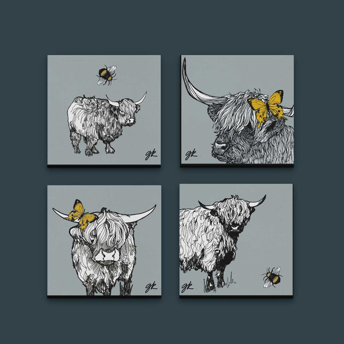 Gillian Kyle Scottish Wall Art Highland Cow Grey Canvas Print Collection Cow Canvas Highland Cow Canvas Highland Cow
