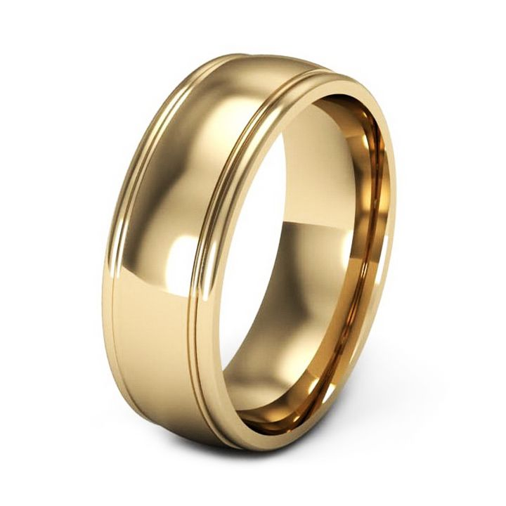 Mens yellow gold wedding bands with grove edges For Bry Guy
