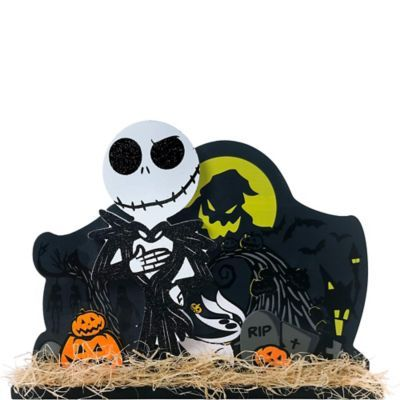 shop for glitter the nightmare before christmas table sign and other kid friendly halloween decorations online at partycitycom