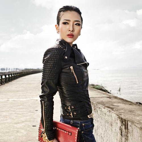 2014 Spring Fashion Women Motorcycle PU Slim Zipper