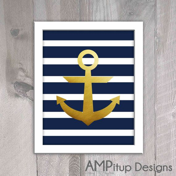 Nautical Gold Foil Anchor Wall Decor Set by AMPitupdesigns | New ...