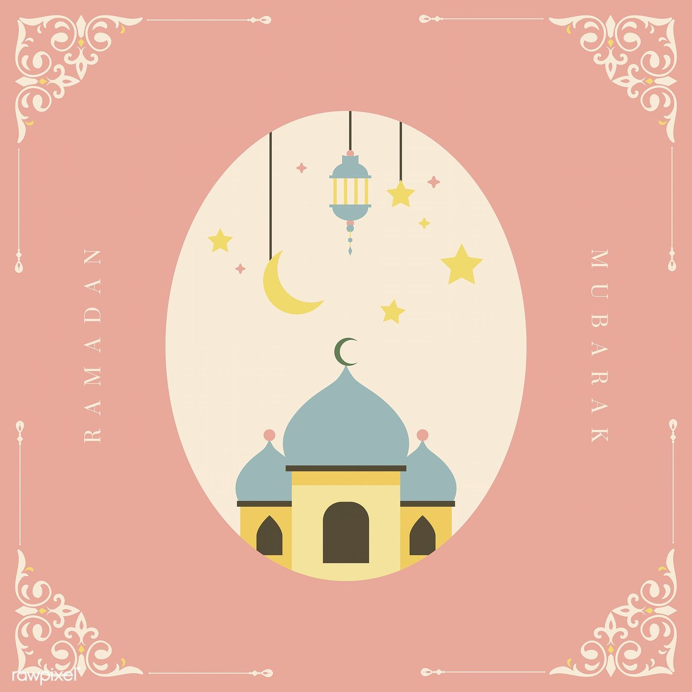 Ramadan Mubarak Card With Mosque Vector Free Image By Rawpixel