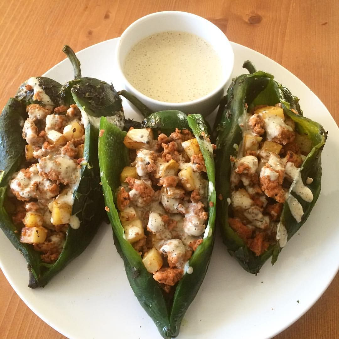 Chiles rellenos with scratch-made chorizo