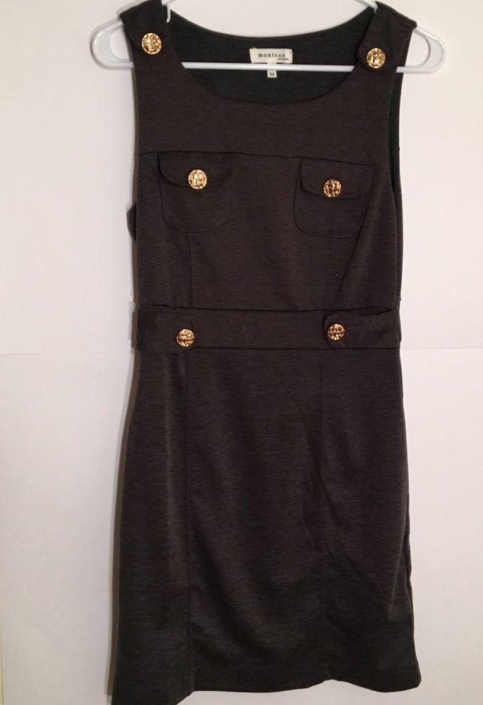 Monteau Sleeveless Dress Size M Gray Solid Militant Gold Button Design | eBay