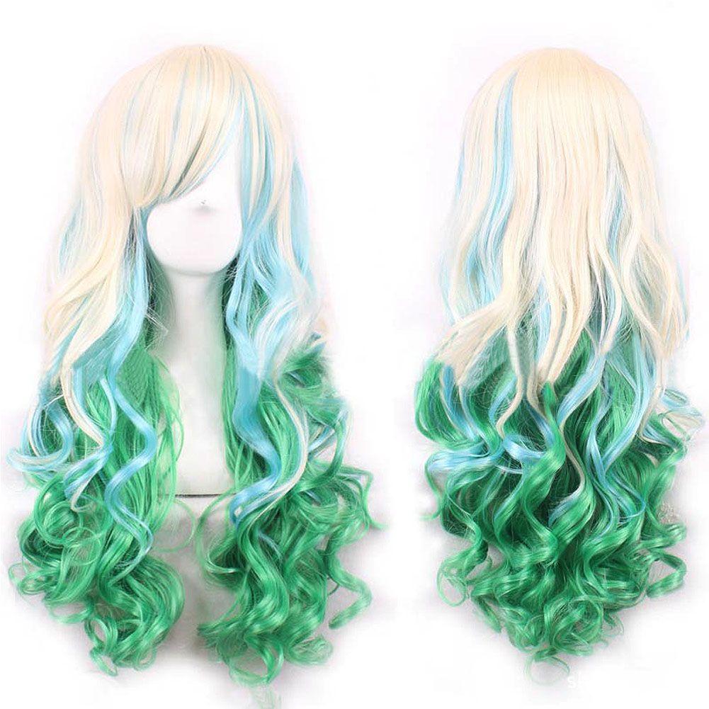 세련된 로리타 여성 여자 긴 물결 모양의 머리 앞머리 전체 가발 골드 + 무지개 녹색 HB88