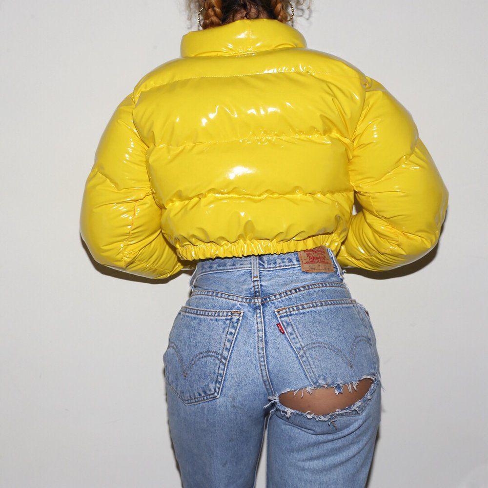 Yellow Pvc Bubble Front Paije Designs Puffer Coat Outfit Fashion Bubble Jacket Outfit [ 1000 x 1000 Pixel ]