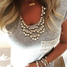 Frances Pearl Statement Necklace with an arm party of bracelets!