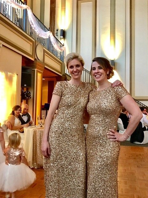 30acfbf697a Champagne and Gold sequin bridesmaids dresses by Adrianna Papell ...