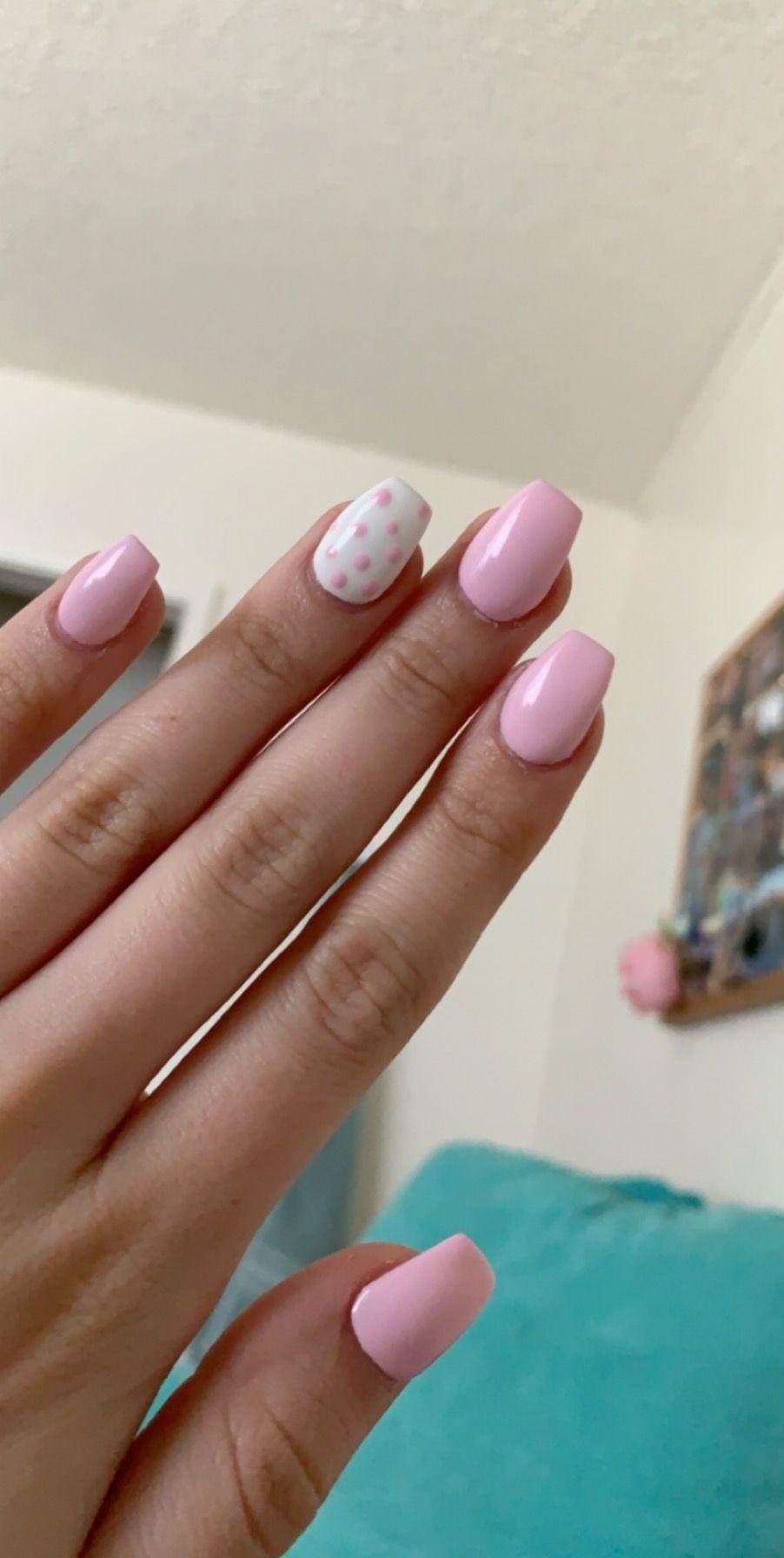 Pink And White Polka Dot Coffin Acrylics White Acrylic Nails Pink Nails Dots Nails