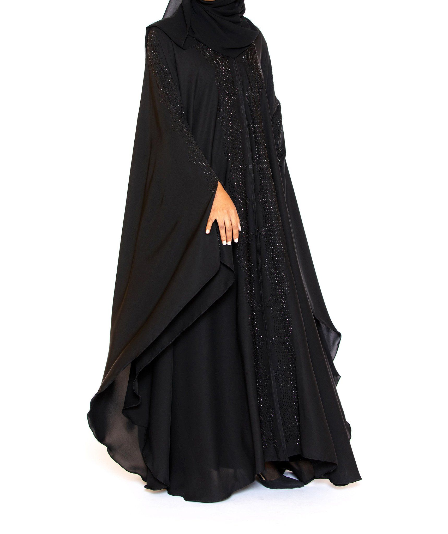 0afc5a066 Adorn yourself in our pure luxury with our beautiful Ebony Abaya. This  exquisite butterfly abaya cape is fabricated with rich, supple silk Nida  and ...