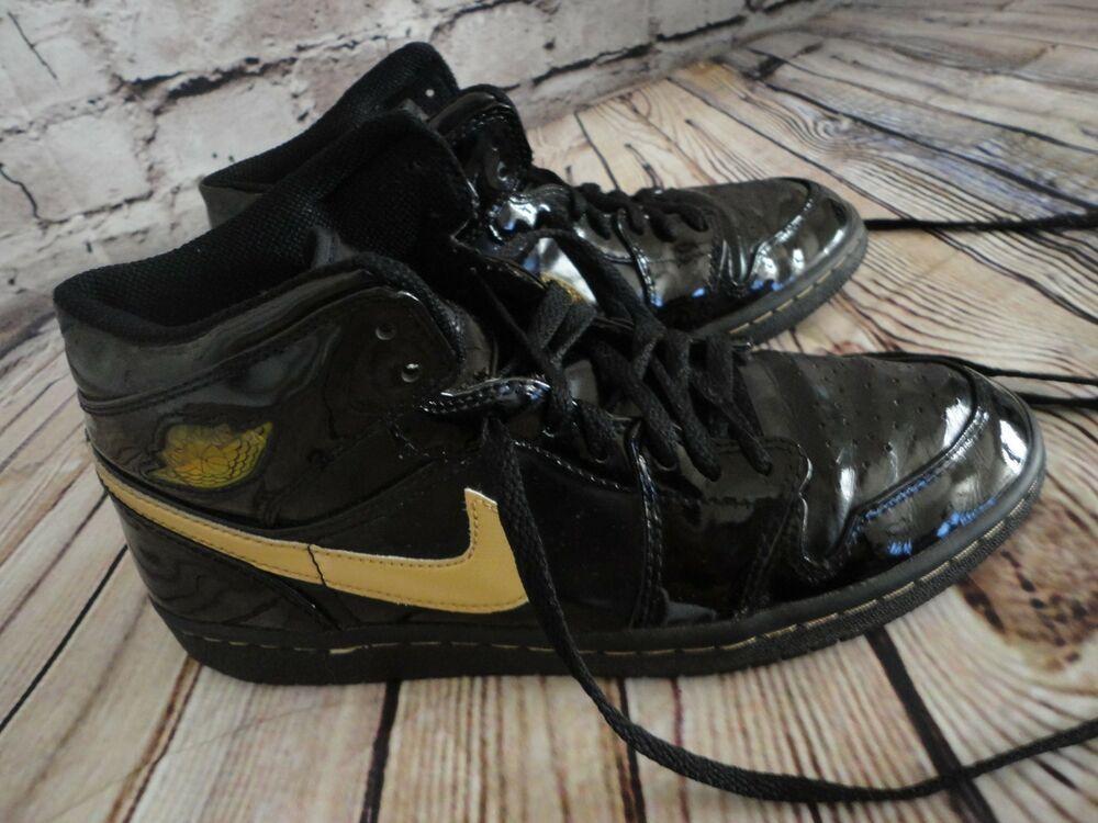 719f0d6997a6 2003 Air Jordan 1 Retro Black Patent Leather Metallic Gold Size 8 ...