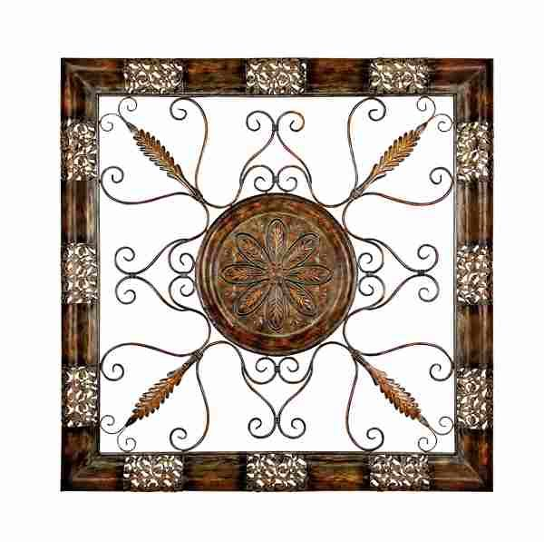 Square Metal Wall Art brushed 3d relief metal wall art scroll - brown tones square