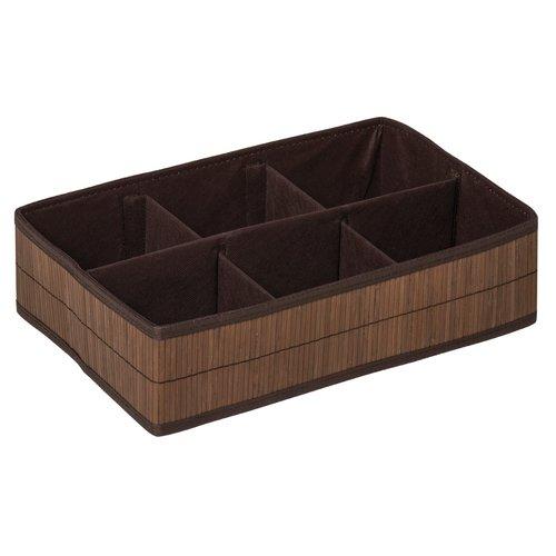 Waldo Wicker/Plastic Organiser Box With 6 Sections Beachcrest Home Finish:  Dark Brown