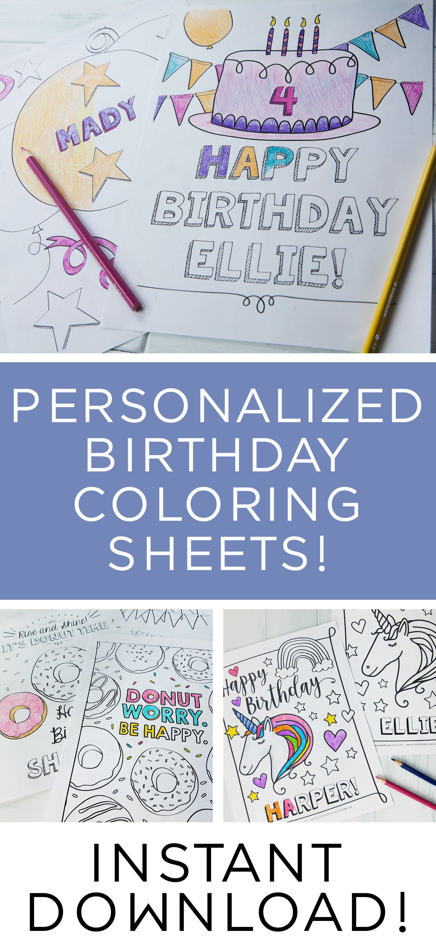 Personalized Birthday Party Coloring Sheets! Makes a great party ...