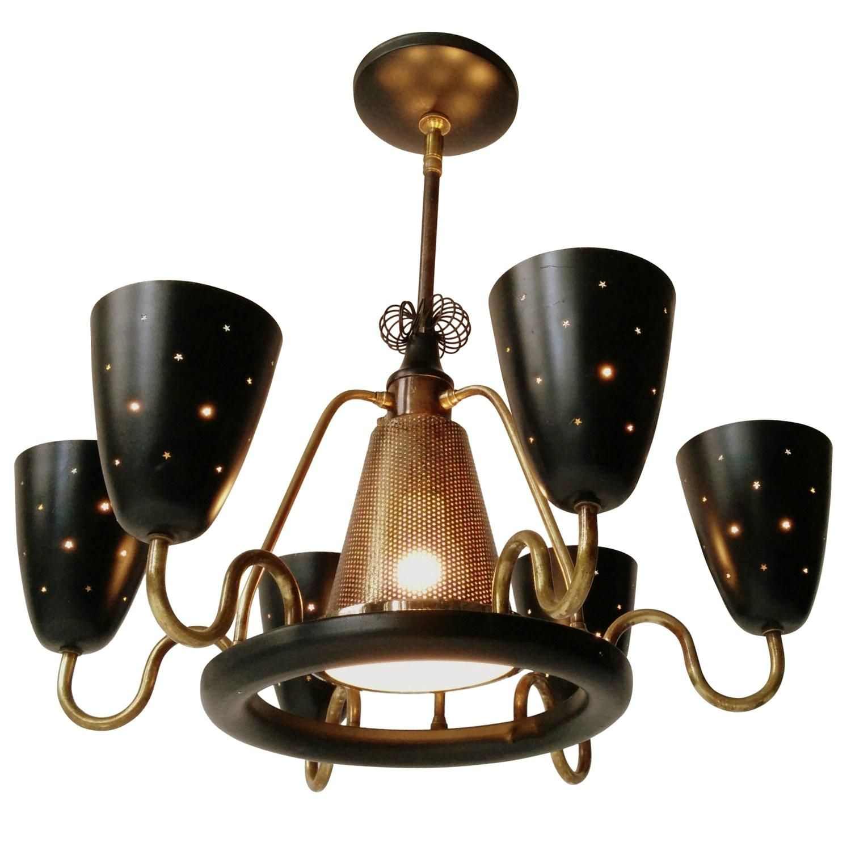 Gerald Thurston Brass Aluminium Seven Light Chandelier Mid Century 1950s