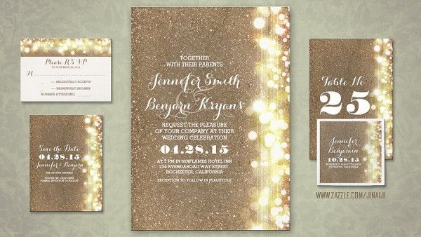 string of lights faux glitter blush gold foil wedding invites – Brown and Gold Wedding Invitations
