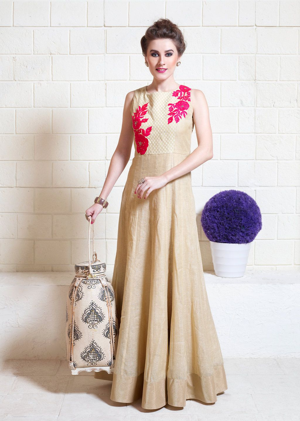 069f476f835 Beige Jute Silk Readymade Party Wear Gown 70232 | Simple Indian ...