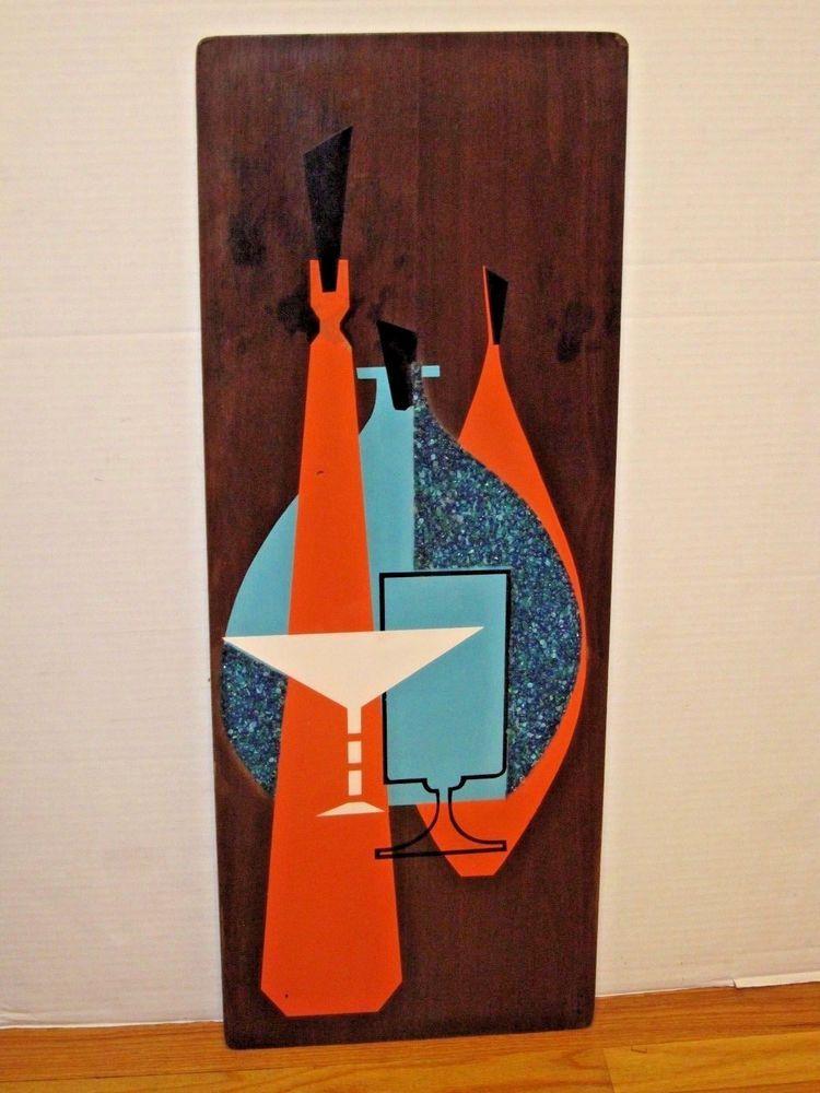 Vtg 1960s Jonero Mid Century Modern Bar Martini Wood Wall Art
