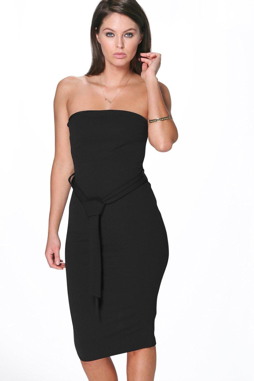 4d4455272434 Lizzie Bandeau Tie Belt Midi Dress   Boohoo.com