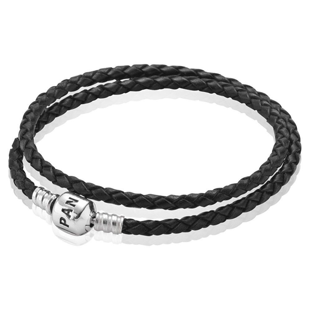 Pandora silver and black double braided leather bracelet cbk