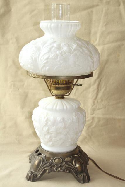 Vintage Fenton Milk Glass Lamp Poppy Floral Student Lamp Gwtw Chimney Shade Milk Glass Lamp Milk Glass Decor Fenton Milk Glass