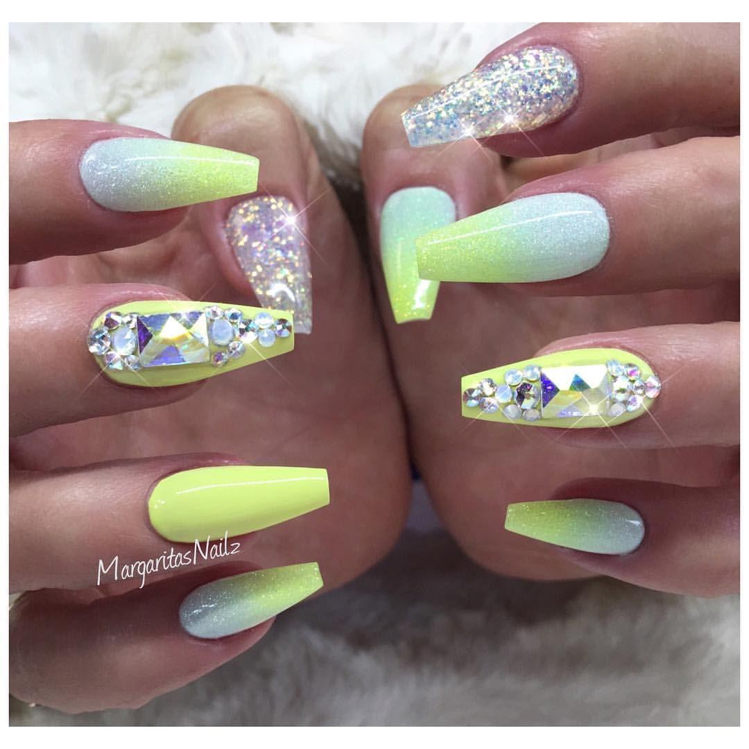 Pastel yellow ombré coffin nails glitter nail art design
