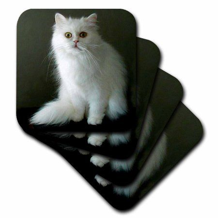 3dRose White Persian, Soft Coasters, set of 4