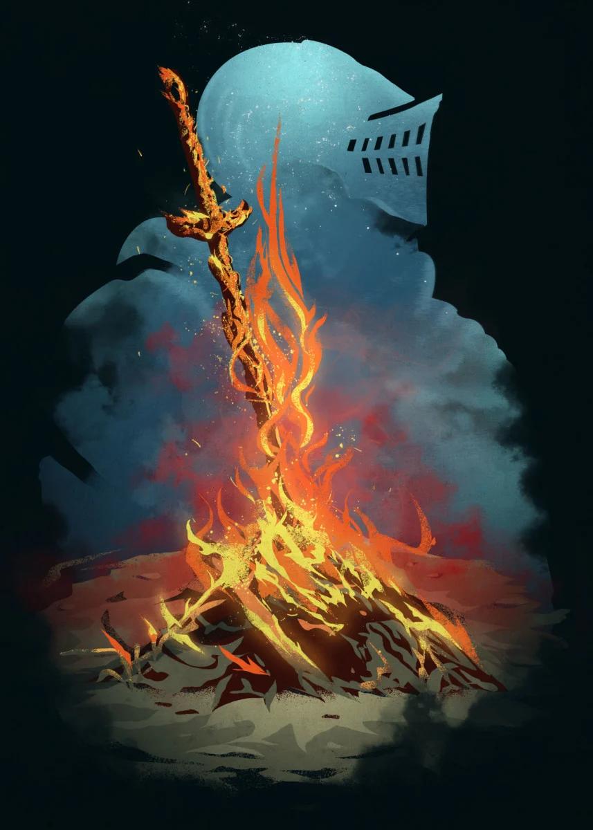 Souls Bonfire Gaming Poster Print Metal Posters Displate Dark Souls Art Posters Art Prints Cool Artwork