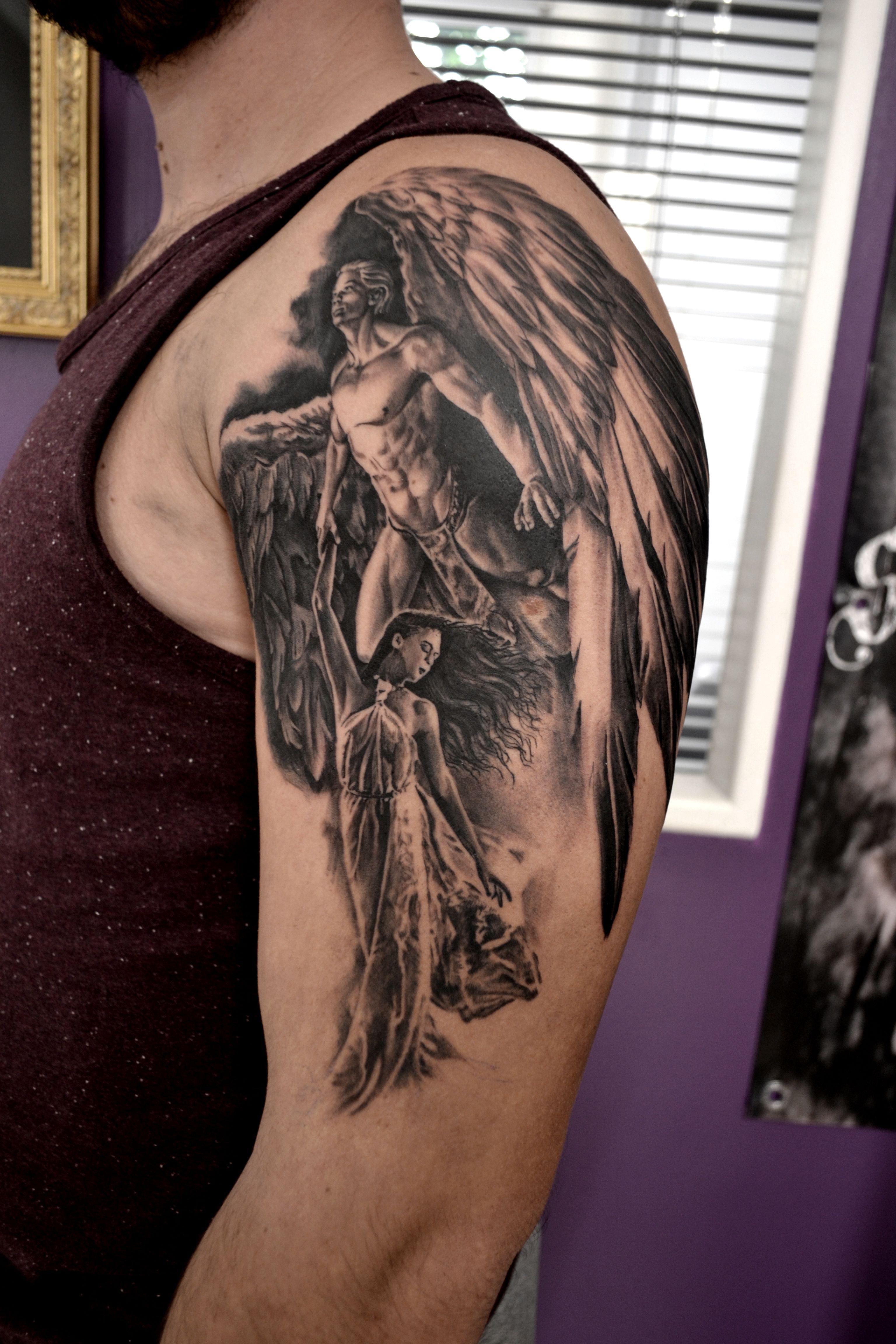 tatouage angel par stephane bueno tatoueur studio black corner tattoo valence tattoo tattoos. Black Bedroom Furniture Sets. Home Design Ideas
