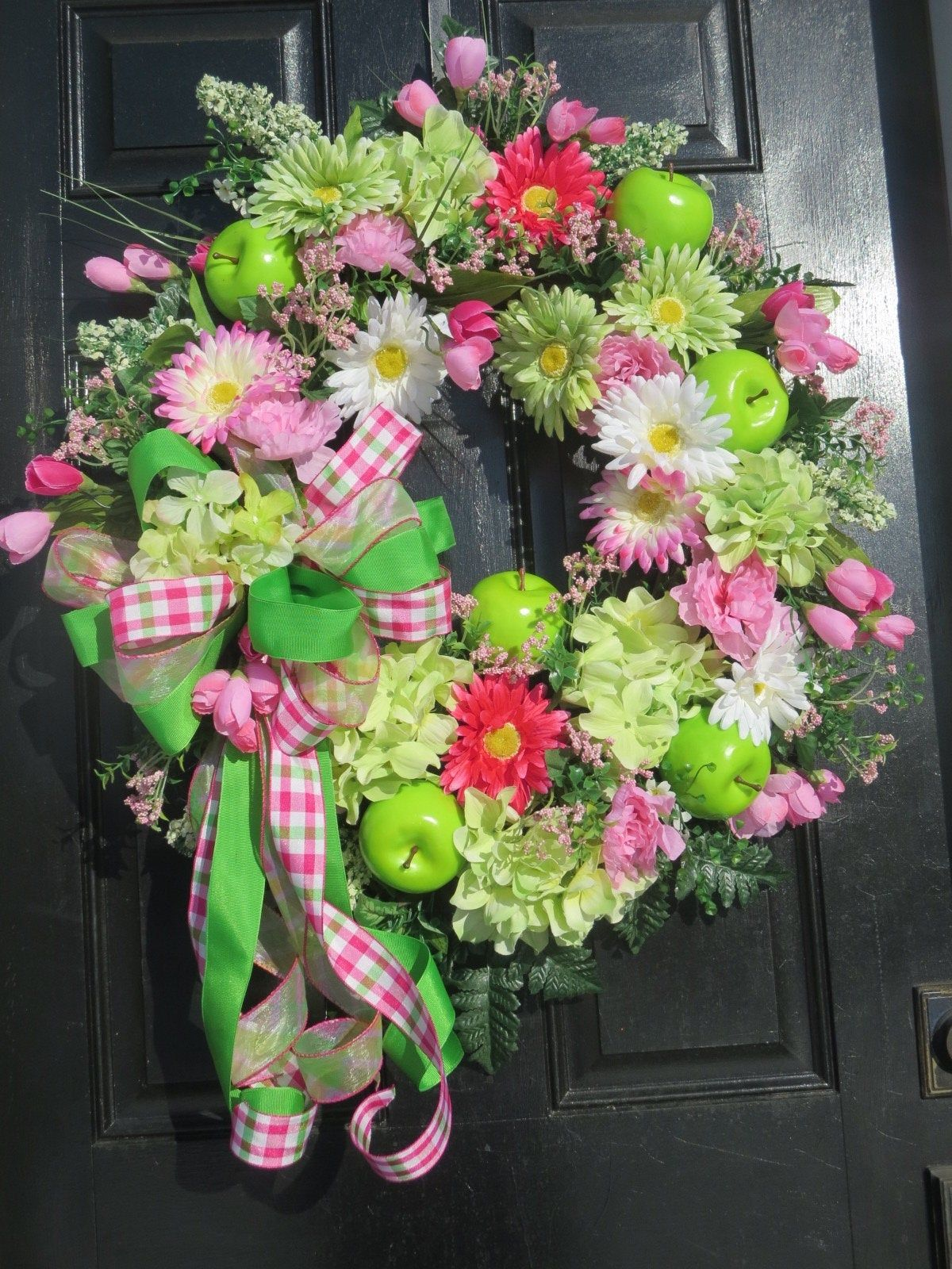 Photo of Spring summer wreath for front door, green apples, mother's day gift